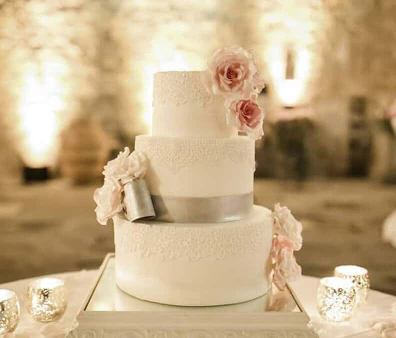 Pink and Silver Lace Wedding Cake, Fiesole Tuscany