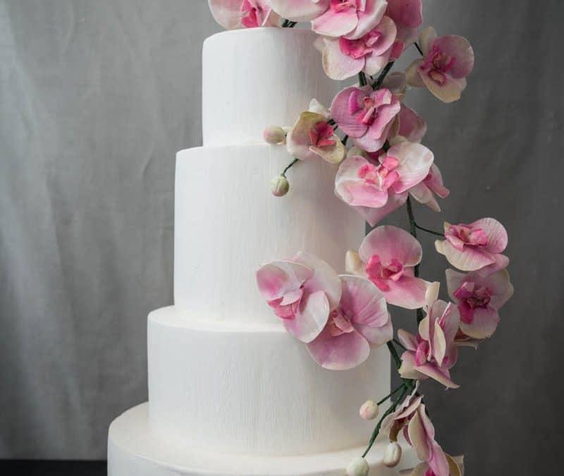 Lush Pink Orchid Tuscan Wedding Cake