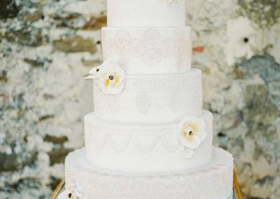 Apricot and Gold Eyelet Lace