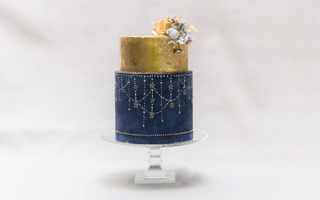 Blue and Gold Wedding Cake at Il Borro, Tuscany