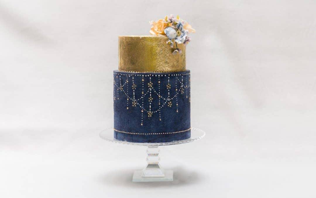 Blue and Gold Wedding Cake at Il Borro, Tuscany