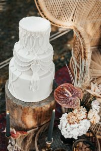Tiered Cake by Tuscan Wedding Cakes with Macrame Inspiration