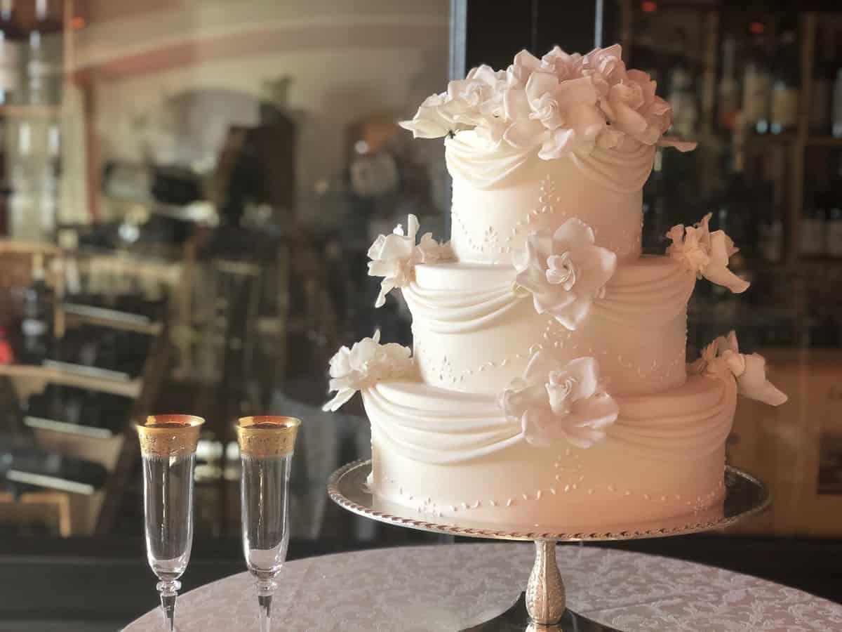 Classic Wedding Cake with Elegant Drapery at Castello di Velona by Tuscan Wedding Cakes