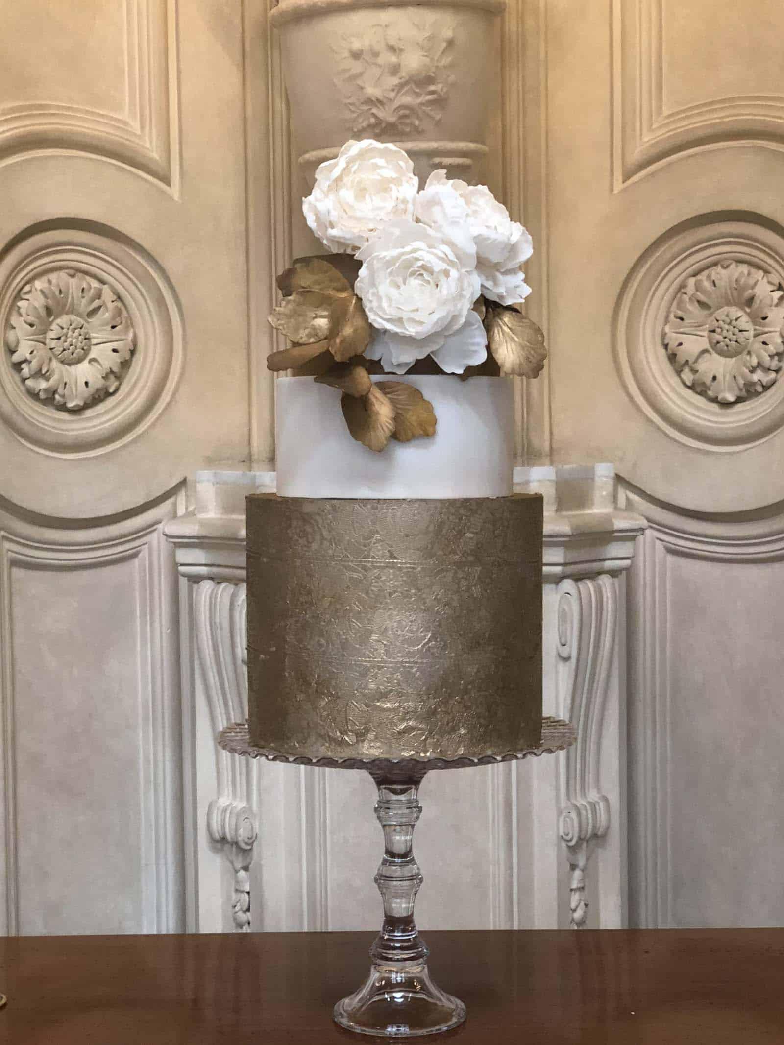 Elegant Gold Lace Wedding Cake at Four Seasons Florence by Tuscan Wedding Cakes