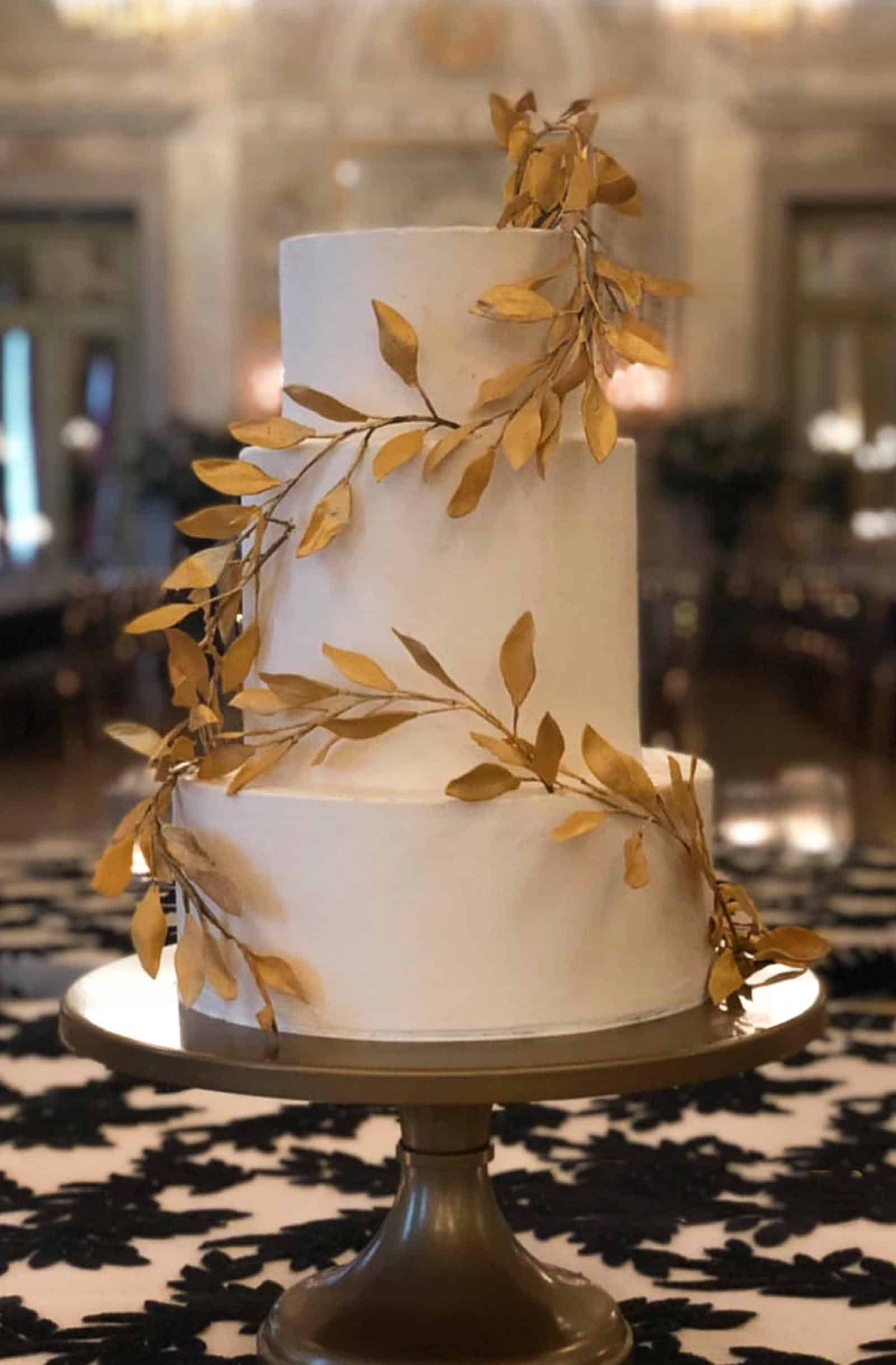 Buttercream and Gold Branch Wedding Cake at Westin Excelsior in Florence Italy by Tuscan Wedding Cakes