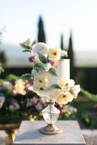 Small Wedding Cake with colorful sugar flowers at Villa La Foce by Tuscan Wedding Cakes