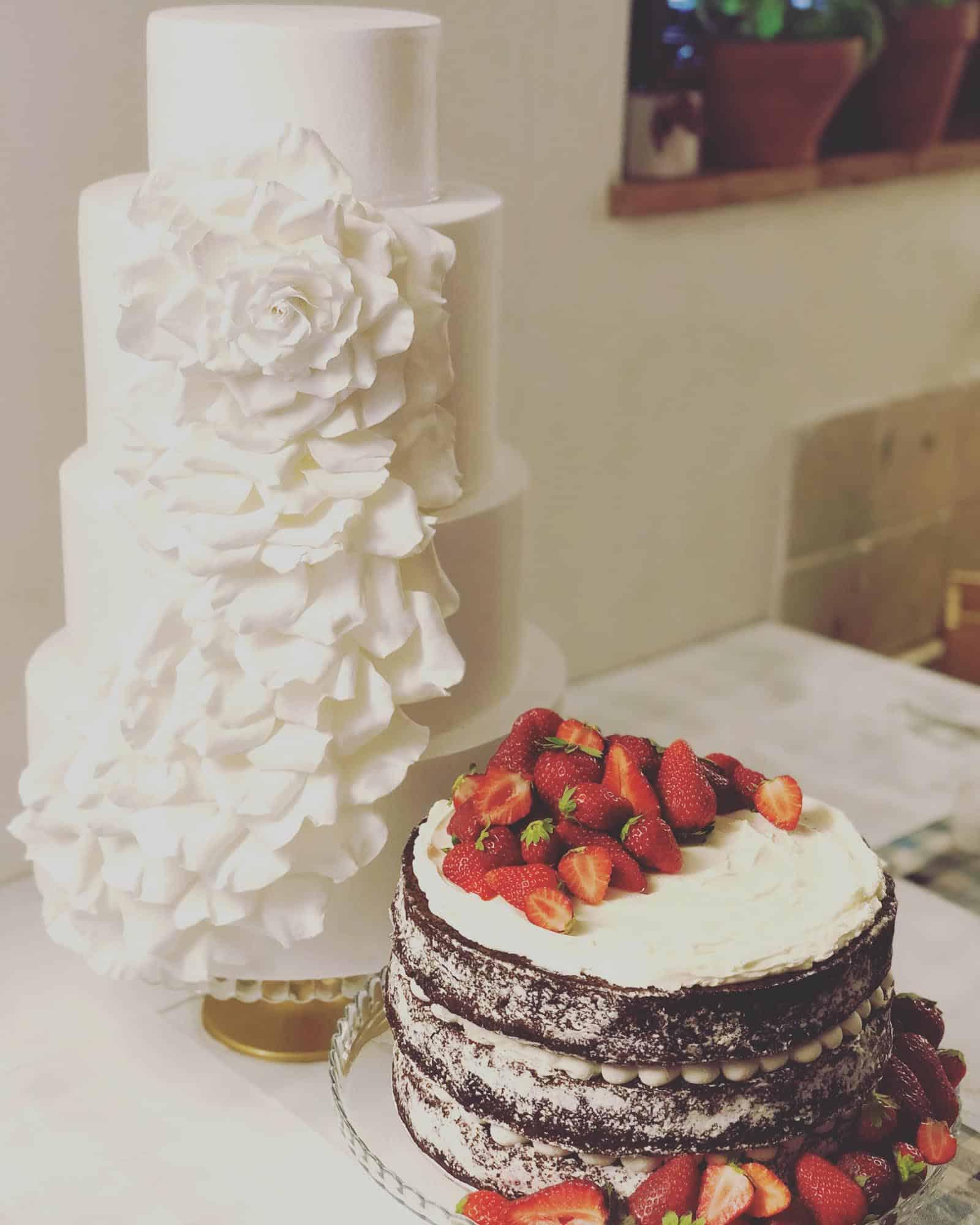 Tuscan Wedding Cake oversized cascading rose cake at Borgo Finocchieto