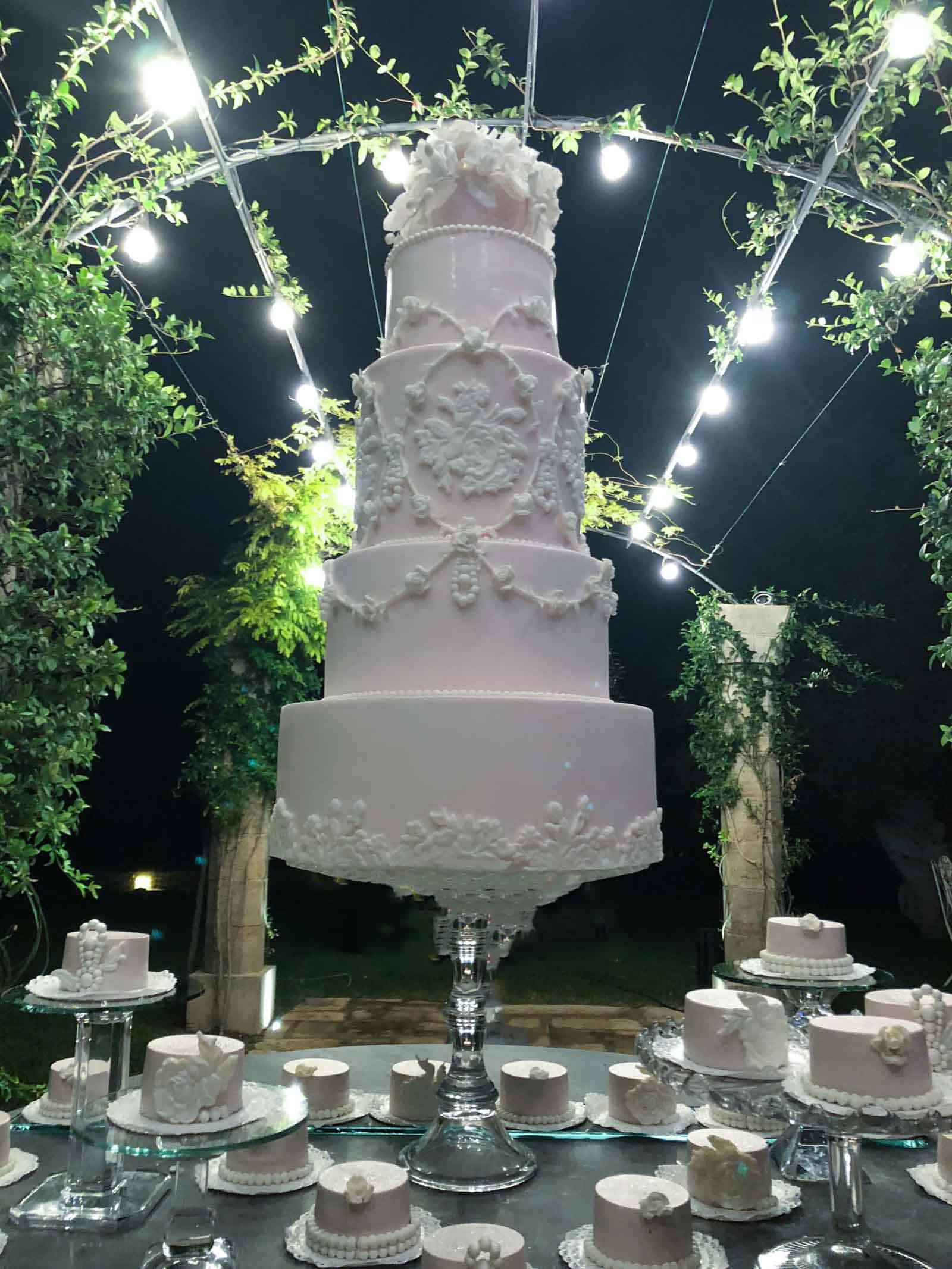 Wedding Cake created by Tuscan Wedding Cakes for the Italy Destination Wedding of David Hasselhoff & Haley Roberts