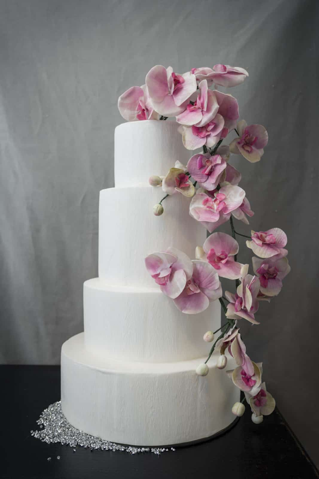 Tuscan Wedding Cakes / Pink Orchid Cake
