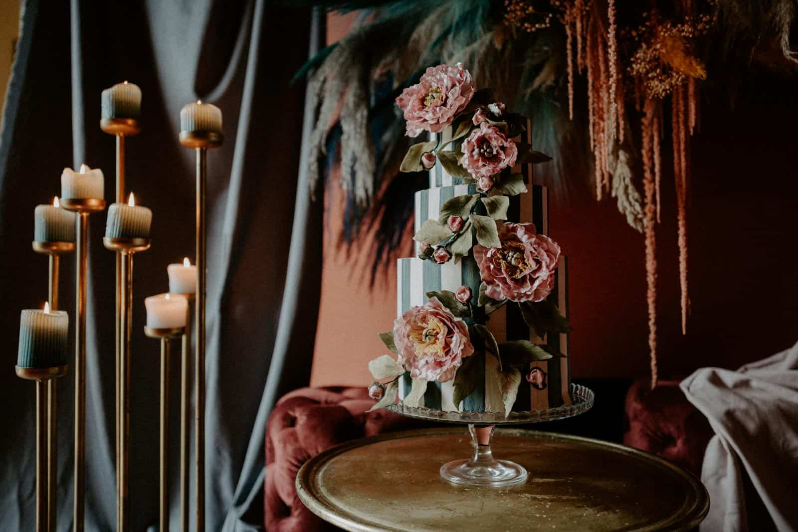 Dramatic striped wedding cake by Florence Italy cake designer Tuscan Wedding Cakes
