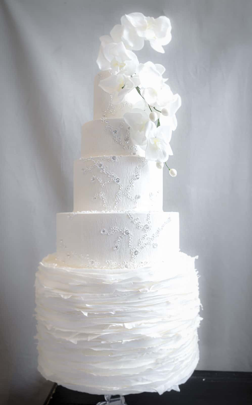 Tuscany Wedding Cake with Orchids and Crystal